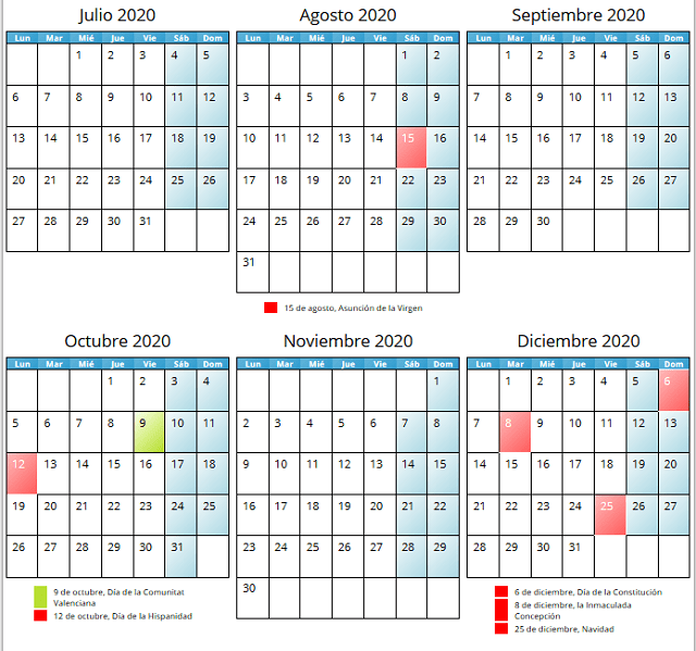 Calendario Laboral 2020 de Valencia Capital